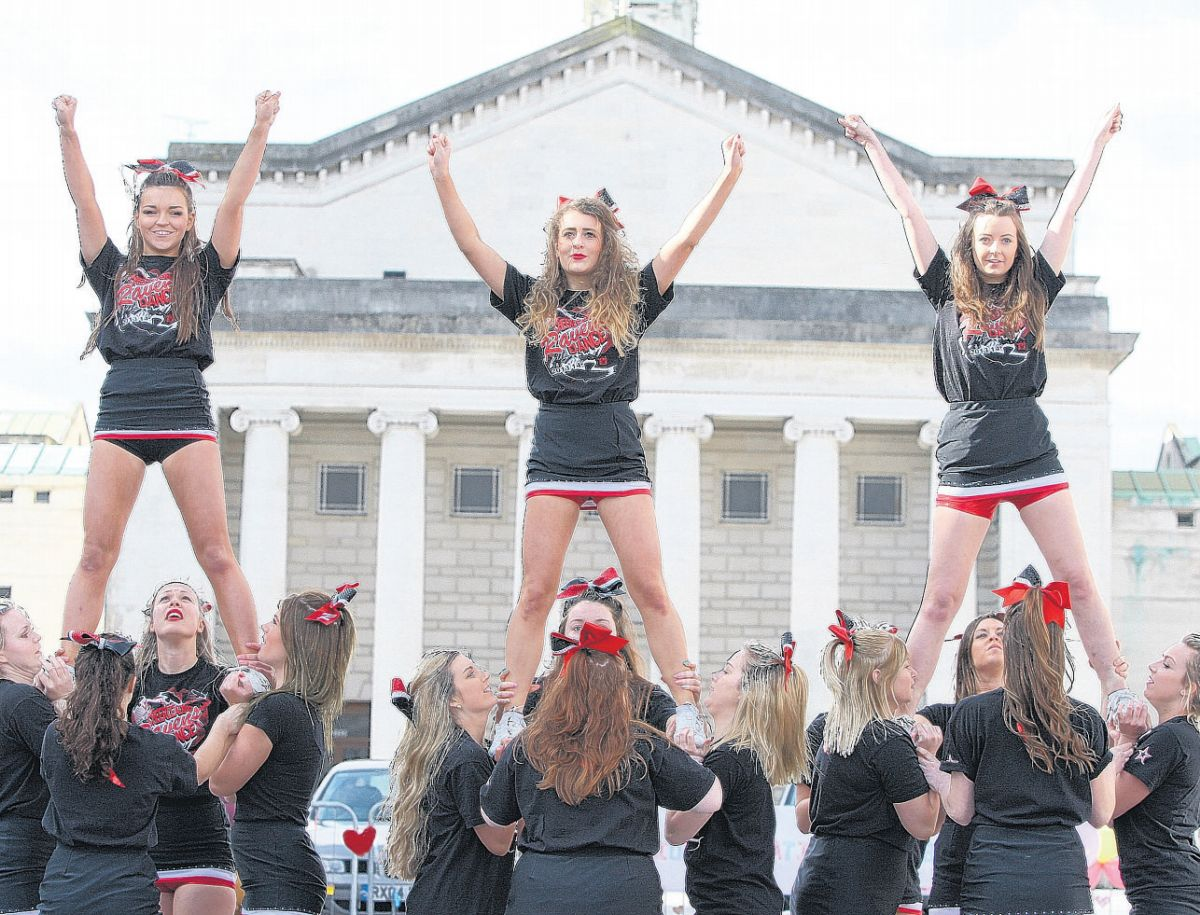 Southampton Ravens Cheerleading Squad lead spontaneous dance in the Guildhall Square.