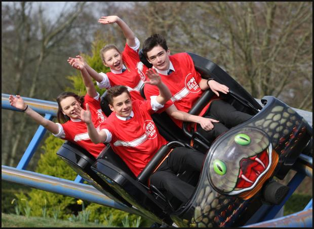 Daily Echo: Pupils complete Sport Relief Mile - on a rollercoaster