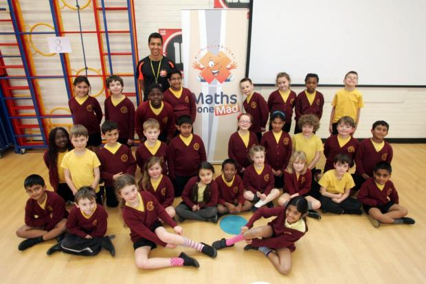 Daily Echo: Springhill Primary School pupils taking part in activities as part of Maths Week.