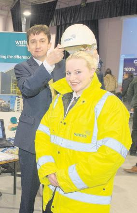 Gary Campbell-Dykes, left, of Wates Construction, with student Tracey-Lee Dyer.
