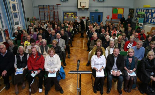 Residents at last night's public meeting to consider housing at Netley.