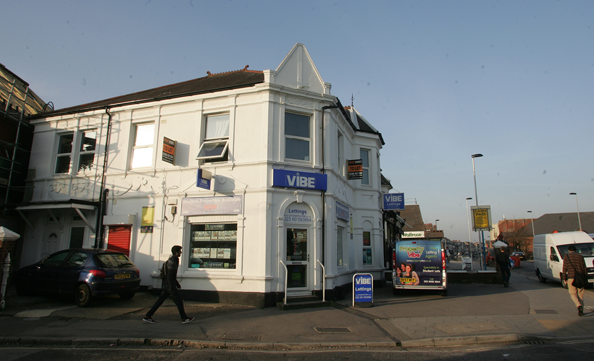 The scene of the stabbing at Property Vibe estate agents in Portswood