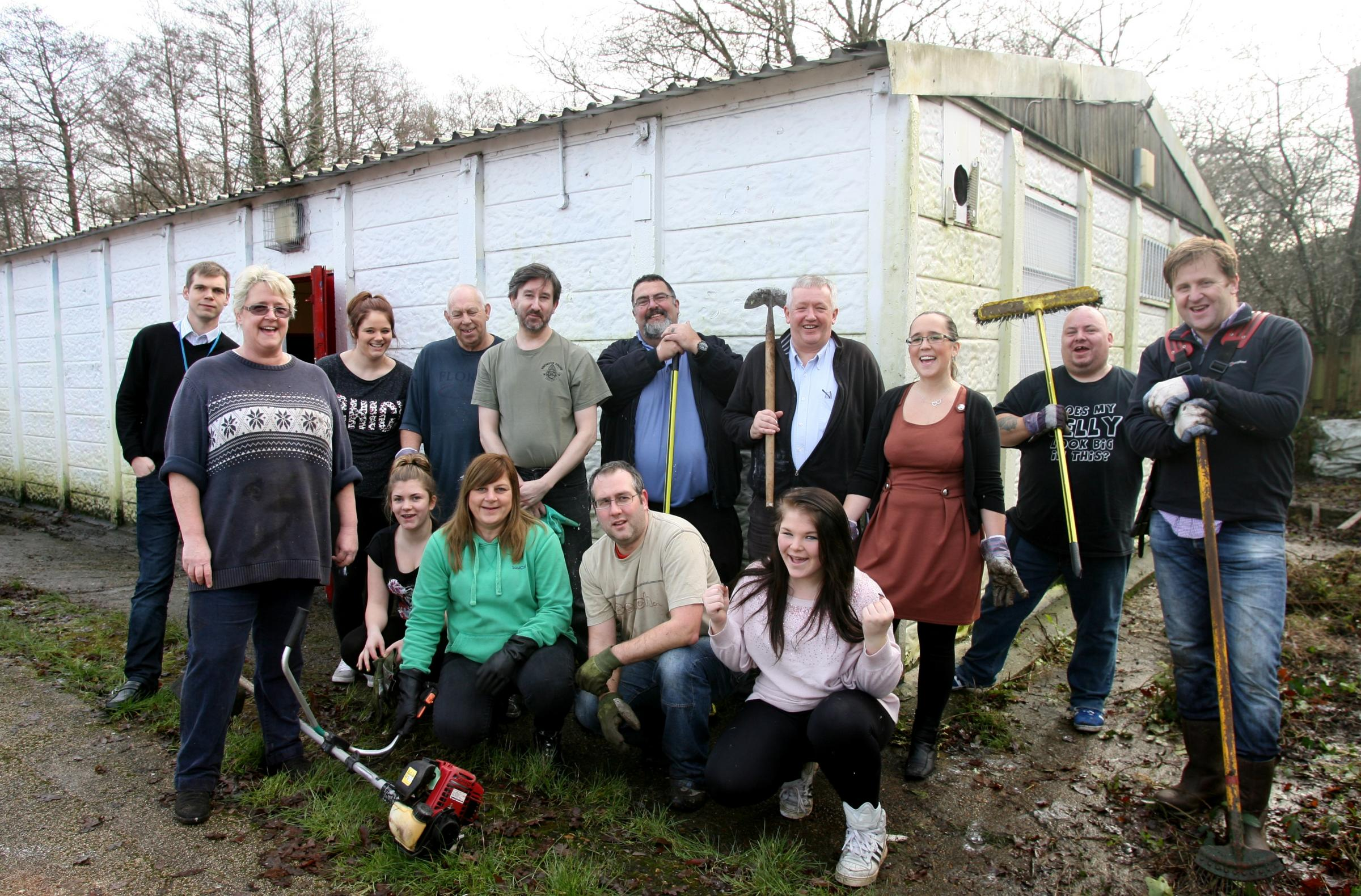 Volunteers refurbishing the Venney Centre in Coxford, with Kate Bulpit, front left.