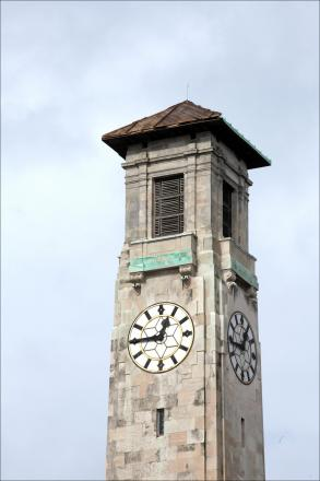 Southampton Civic Centre's clock tower with part of the roof missing