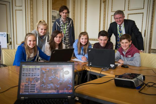 BLUE FUSION: Children from Testwood School using a mine robot program with Andy Nelson and Hugh Proudman