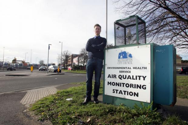 Steve Galton by the air-monitoring station at Millbrook Road, Southampton.