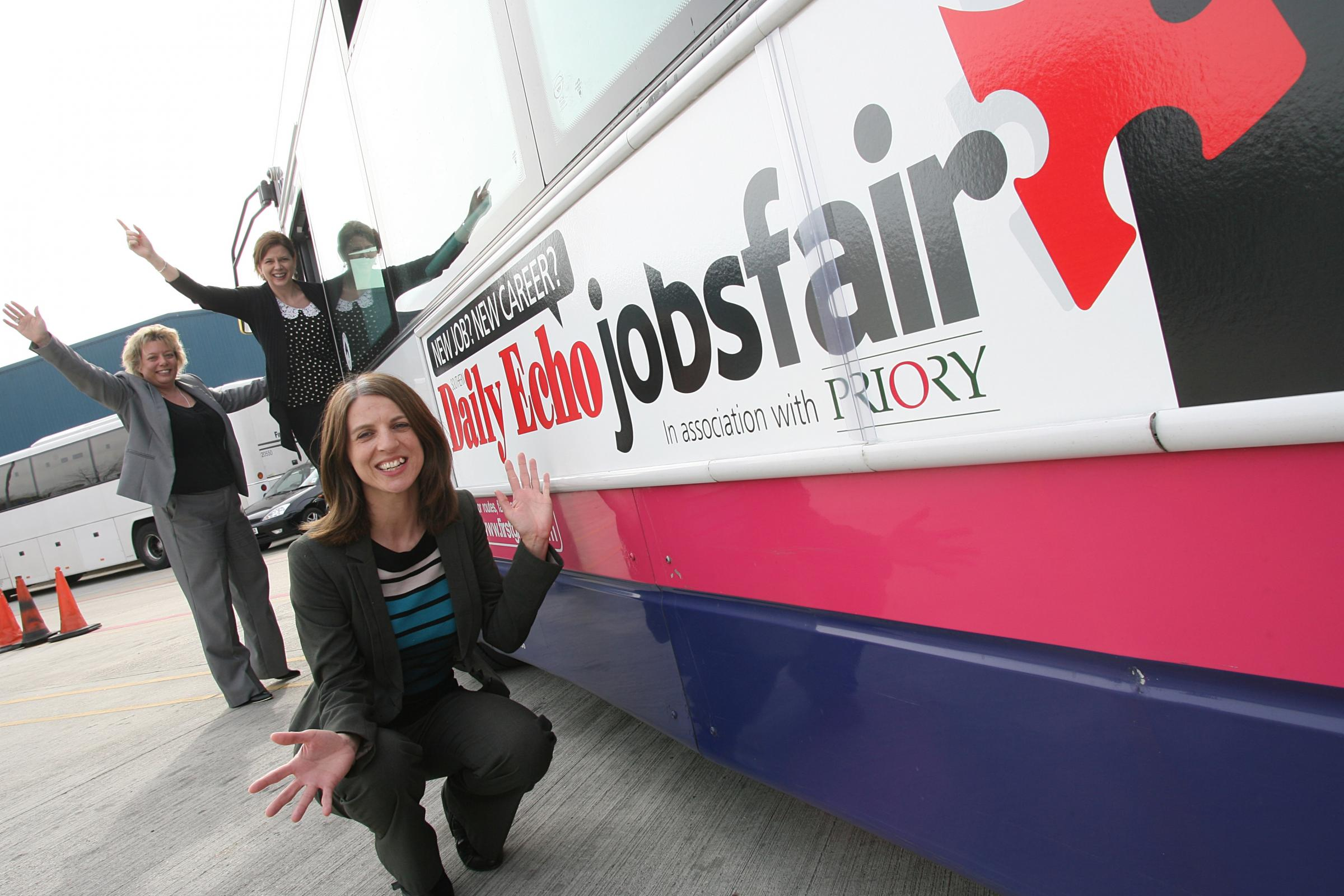 Jess Butts (front) with Kerry Darwin and Natalie Sprake alongside the Jobs Fair bus