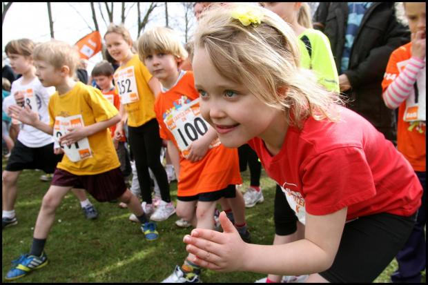 Simone Conradie, 7, gets ready to start yesterday's fun run that followed the main Eastleigh 10k race.