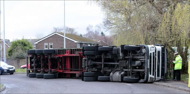 Daily Echo: Overturned lorry brings traffic to a standstill in Totton