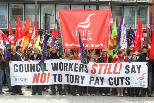 Unite and Unison holding a protest against council cuts