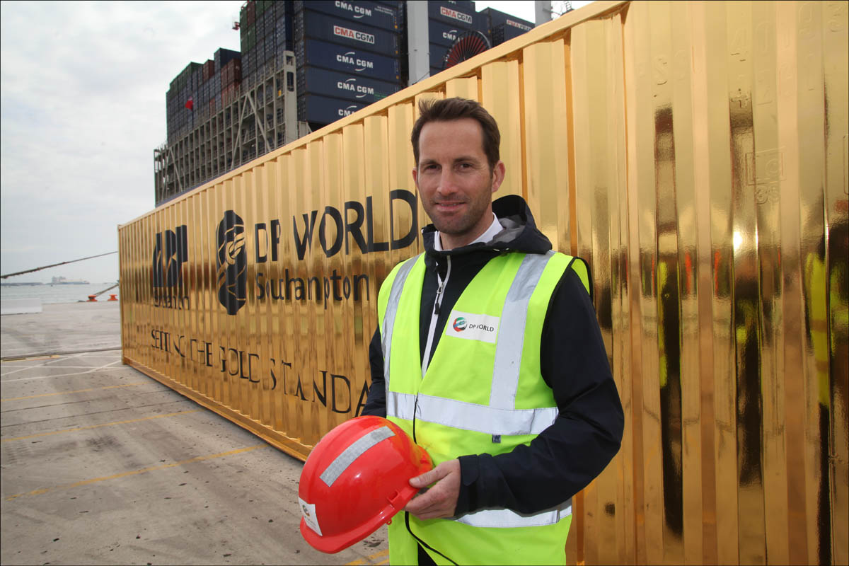 Sir Ben Ainslie and his golden container.