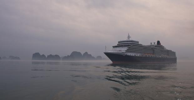 Queen Elizabeth sails in Halong Bay, Vietnam
