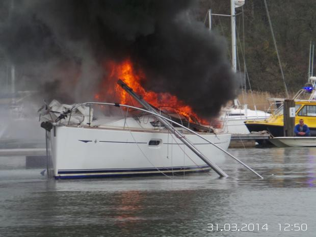 The yacht destroyed in a fire. Pictures courtesy of MVM Systems