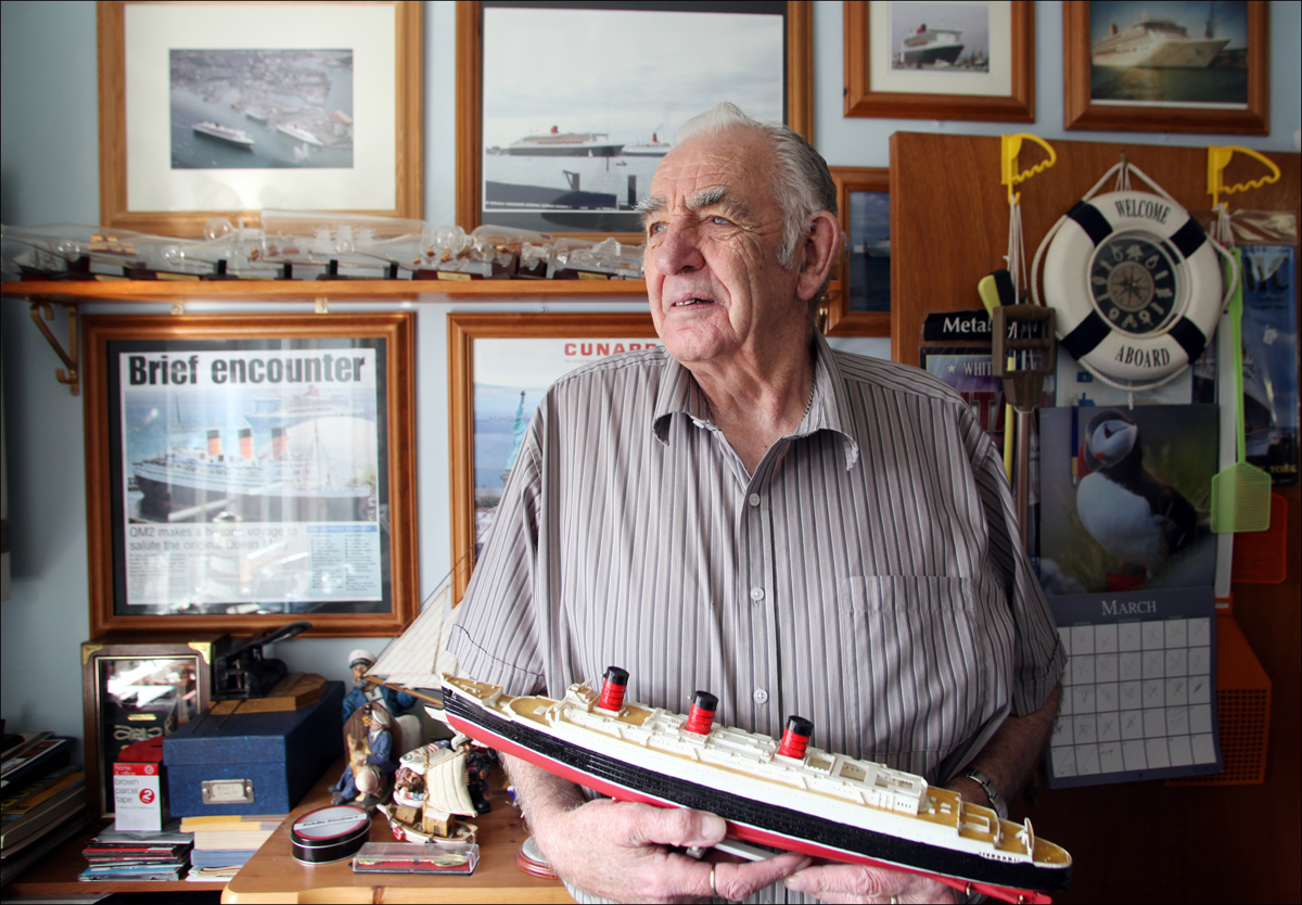 SHIP-SHAPE: Shipping enthusiast Perc Wiltshire at his Bursledon home filled with memorabilia from the seas.