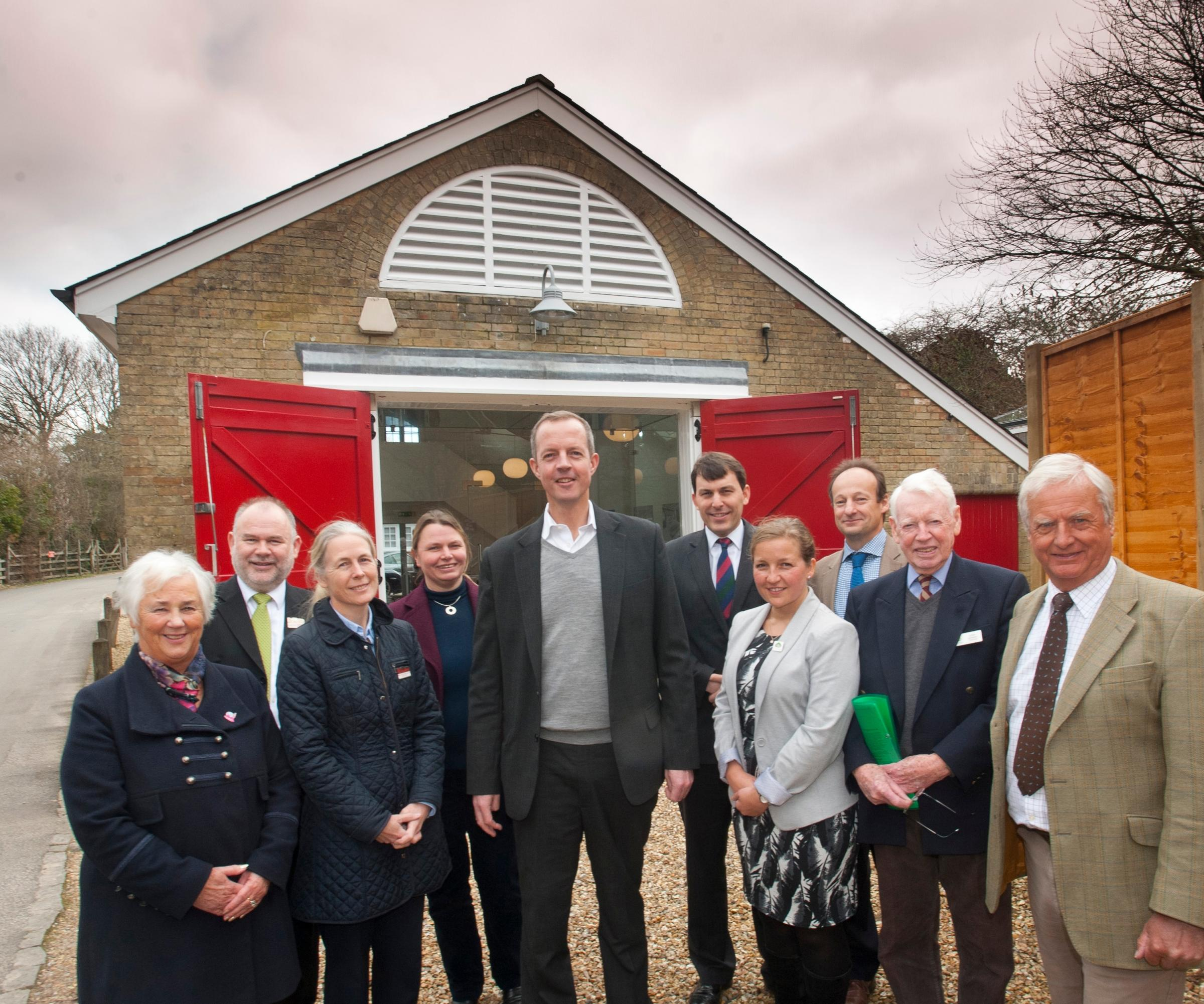 Planning Minister Nick Boles MP, centre, at the old fire station in Beaulieu with National Park officials, business leaders and Salisbury MP John Glen (on Mr Boles' left). Photo