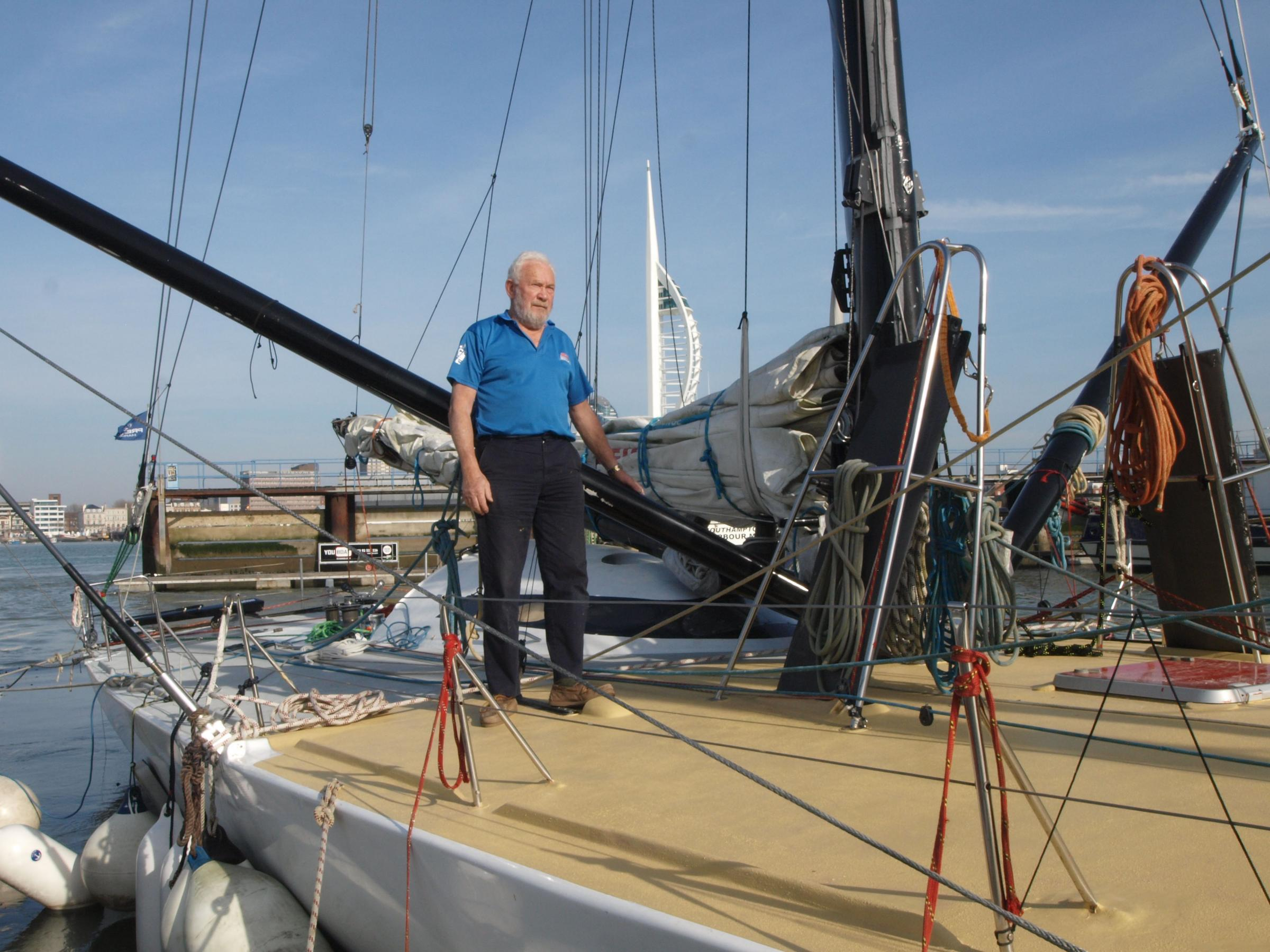 Sir Robin Knox-Johnson, 75, aboard Grey Power