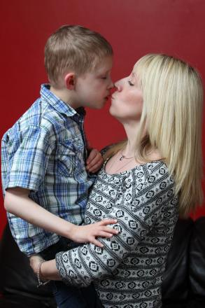 Michelle Barfoot with nine-year-old son Harry, who is severely autistic