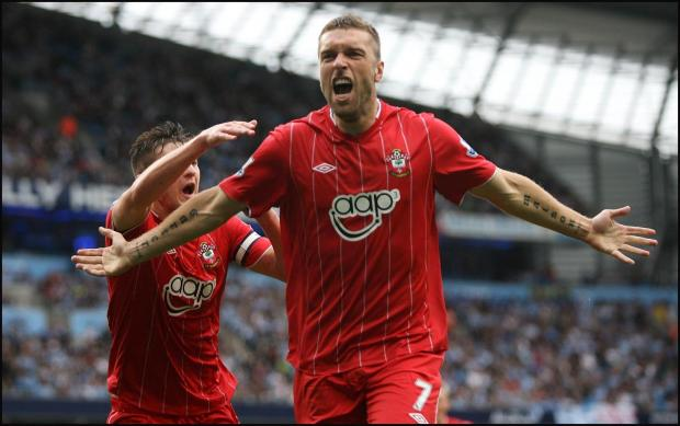 Rickie Lambert scores at The Etihad last season, but Saints still ended up on the losing side.