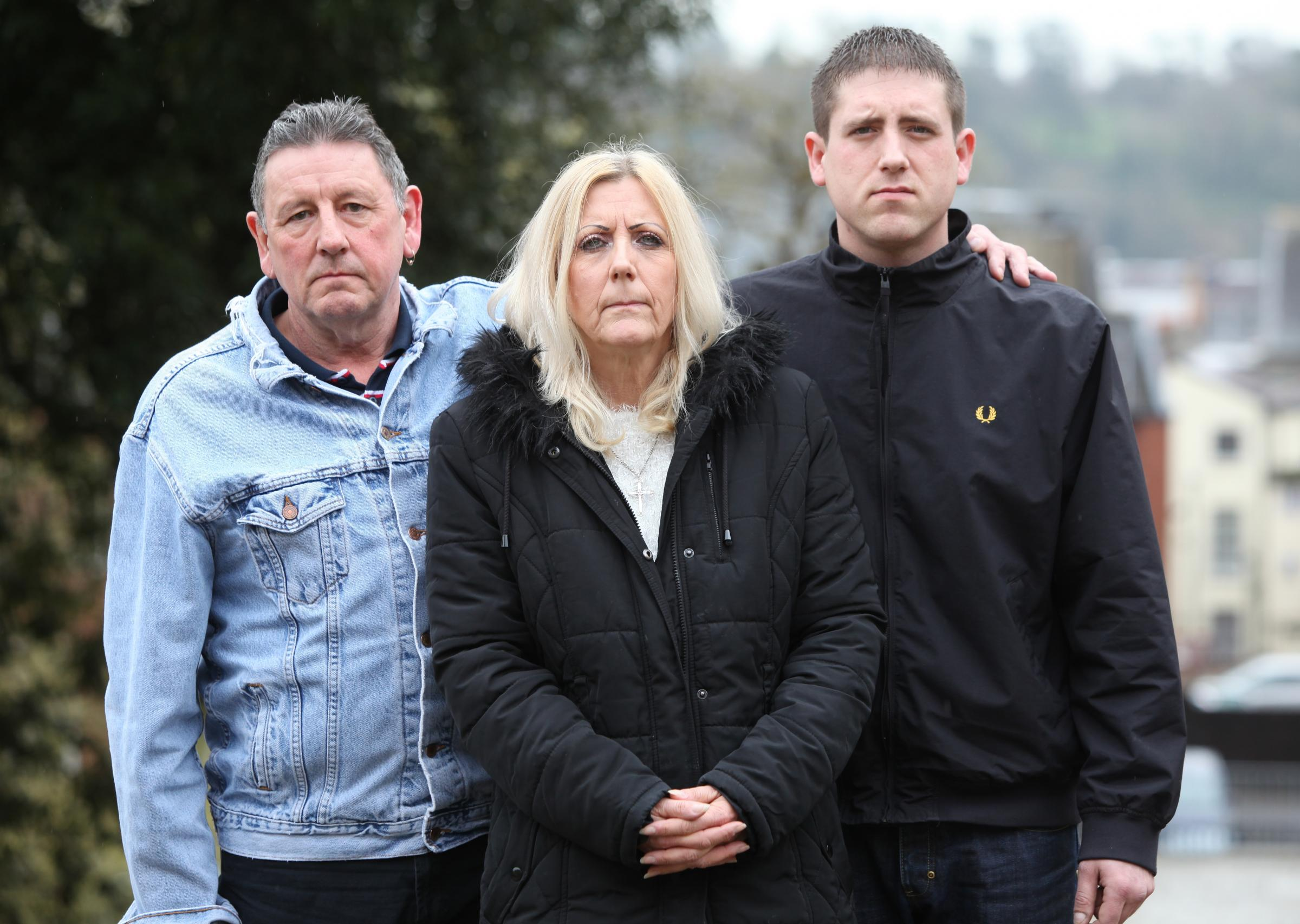 (L-r) Kevin Wyeth's father Kevin, mother Linda Timberlake and brother Dean