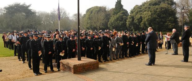 Daily Echo: Police show support at PC Rich Phillips-Schofield's at a previous memorial