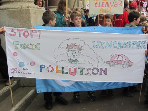 Green campaigners march through Winchester to protest against air pollution