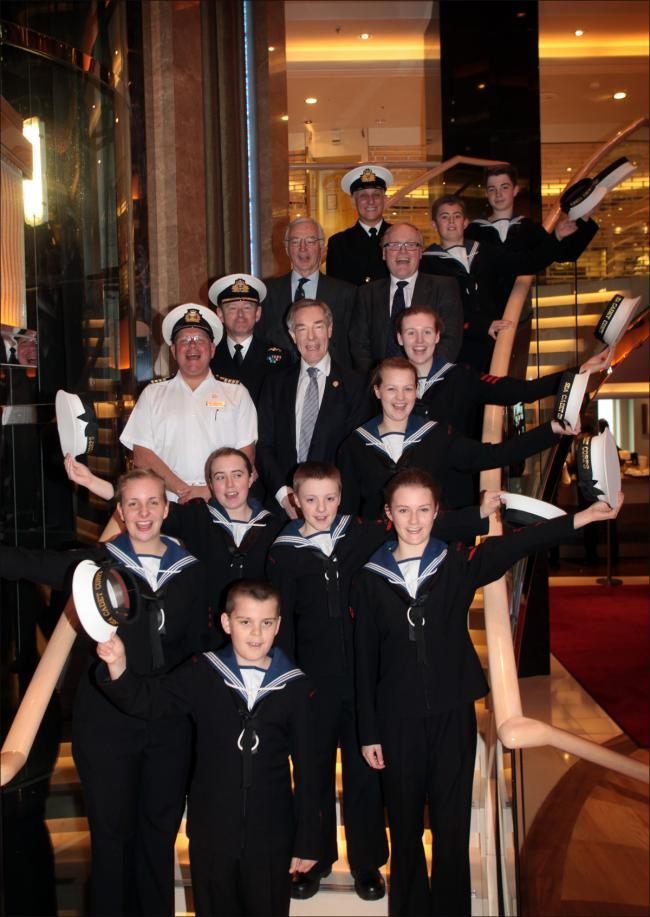 ABOVE: Carnival chief executive David Dingle (centre) and Azura captain David Pembridge with Sea Cadets and their commanding officer Lt Mark Lampert together with charity chief executive Martin Coles and trustee Robert Woods.