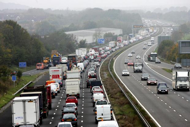 Major delays on M27 after crash.