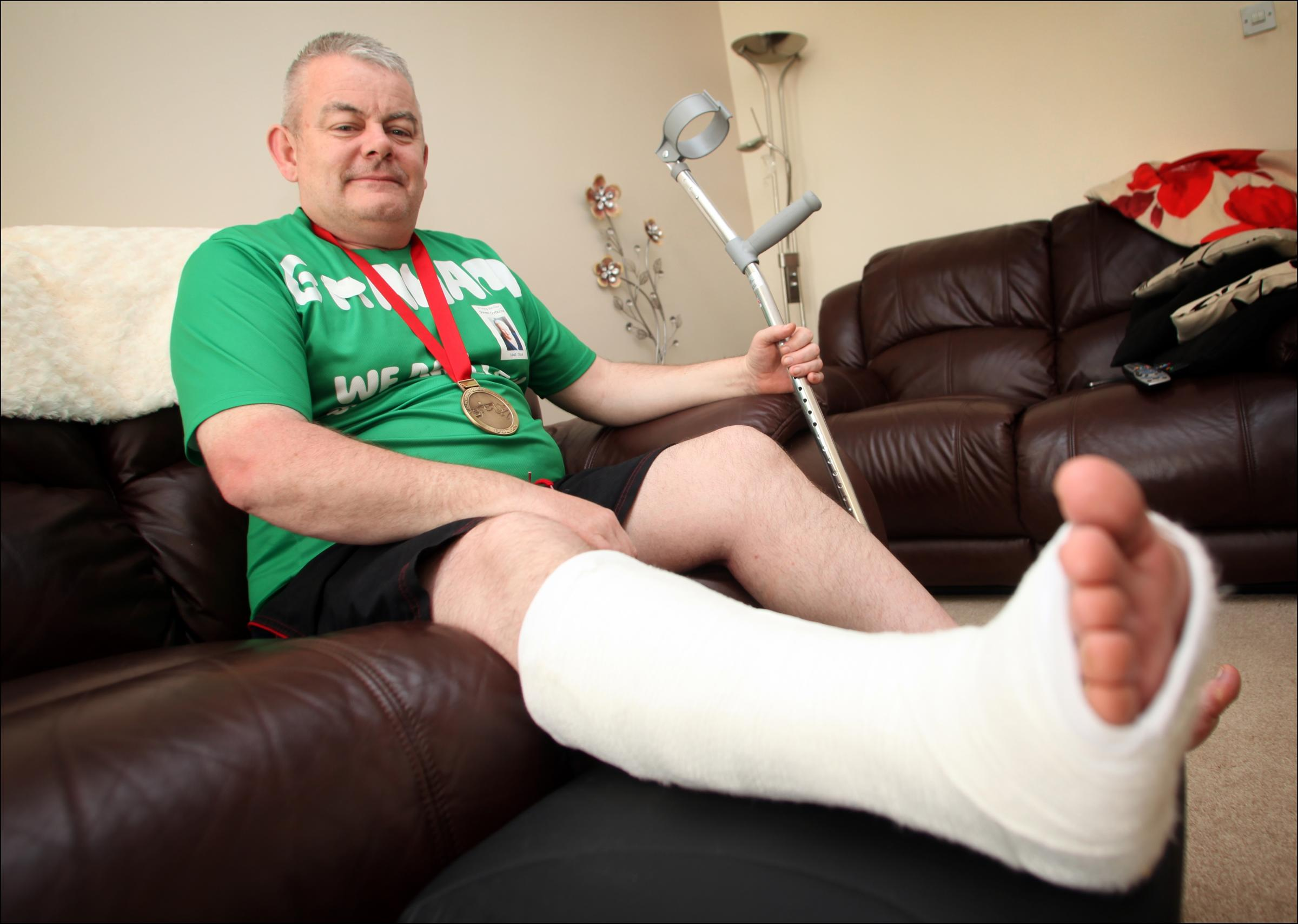 Runner completed marathon on a broken foot