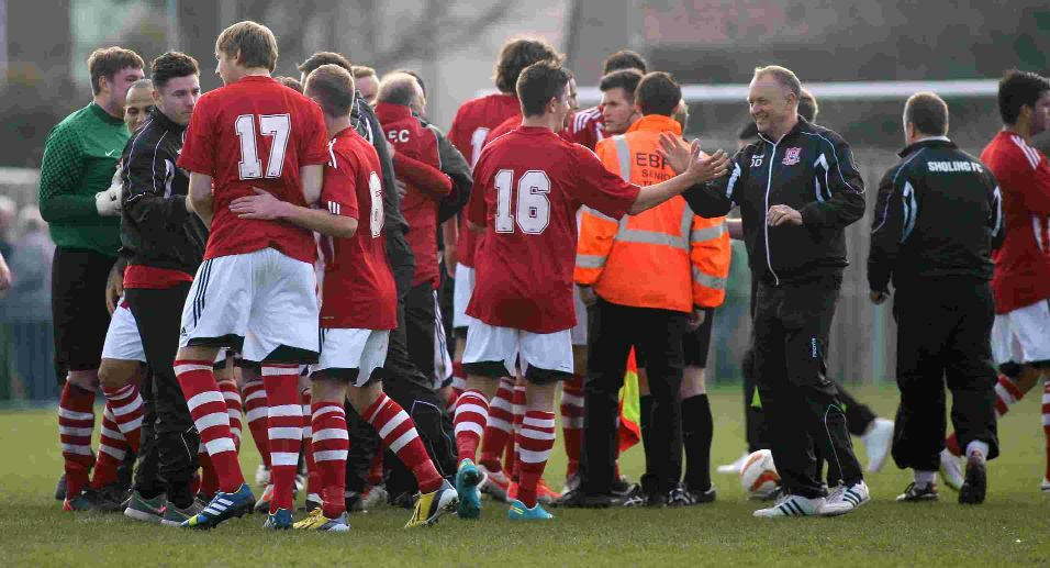 Dave Diaper and players celebrate the win that put them through to Wembley.