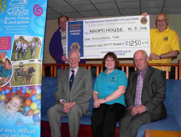 Fords Sports SAC present Naomi House officials with a cheque for £1,250. Front (from left) – Ron Wilson (Meon Valley Lions Club), Sarah Hudson (area Fundraiser from Naomi House), Peter Oate (Chairman Forts Sports SAC).