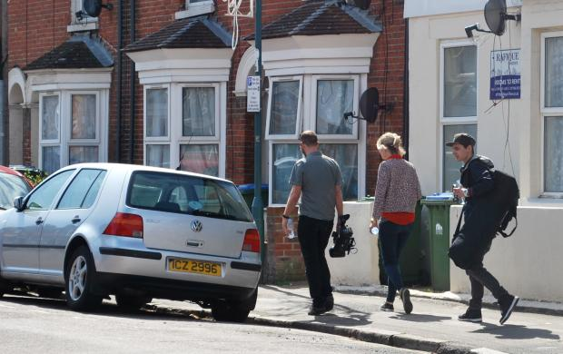 Daily Echo: The film crew in Derby Road on Tuesday