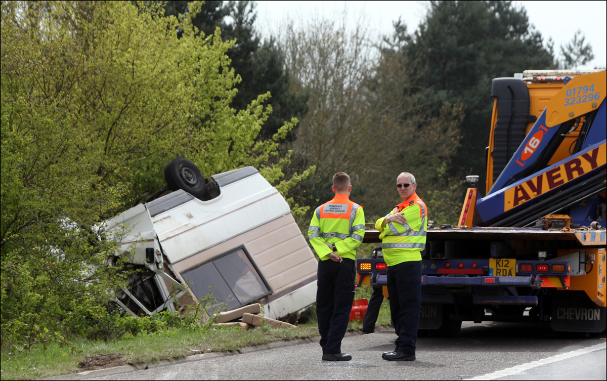 Delays on motorway as motor-home overturns