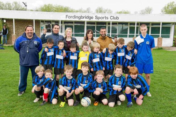 The Turkish TV documentary crew line up with Fordingbridge's U9s and club coaches