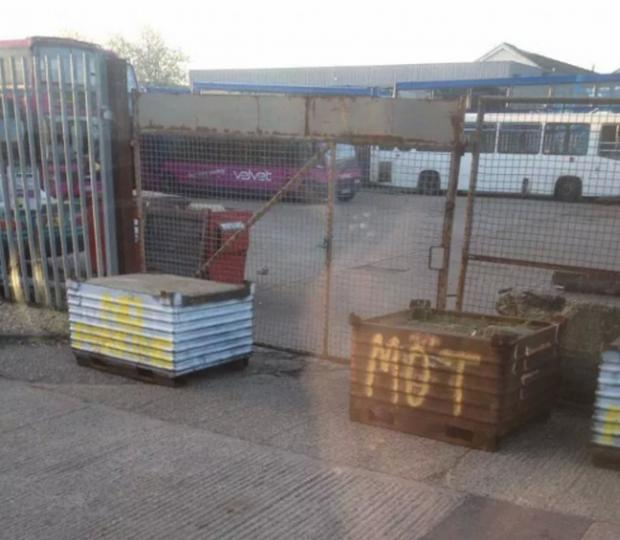 Daily Echo: Gates are blocked off at Velvet's depot in Eastleigh