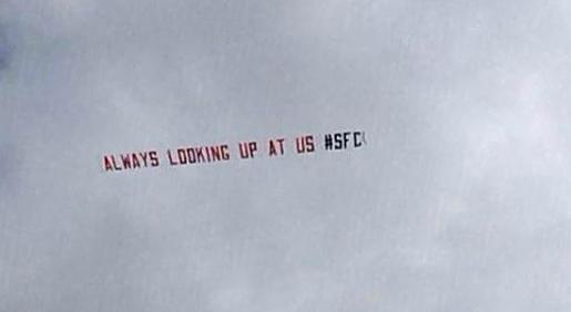 Saints fan takes to the sky to mock Pompey