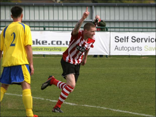 Lee Wort celebrates one of his three goals against Verwood