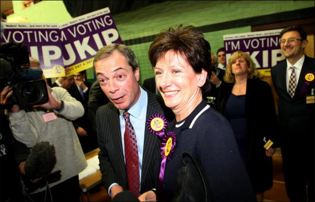 UKIP leader Nigel Farage with candidate Diane James at the 2013 Eastleigh by-election
