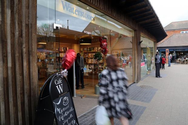 Shoppers arrive at the new Waterstones shop in Ringwood