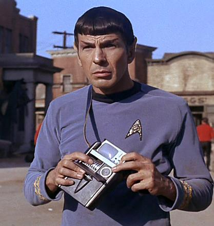 Star Trek's Mr Spock with a tricorder