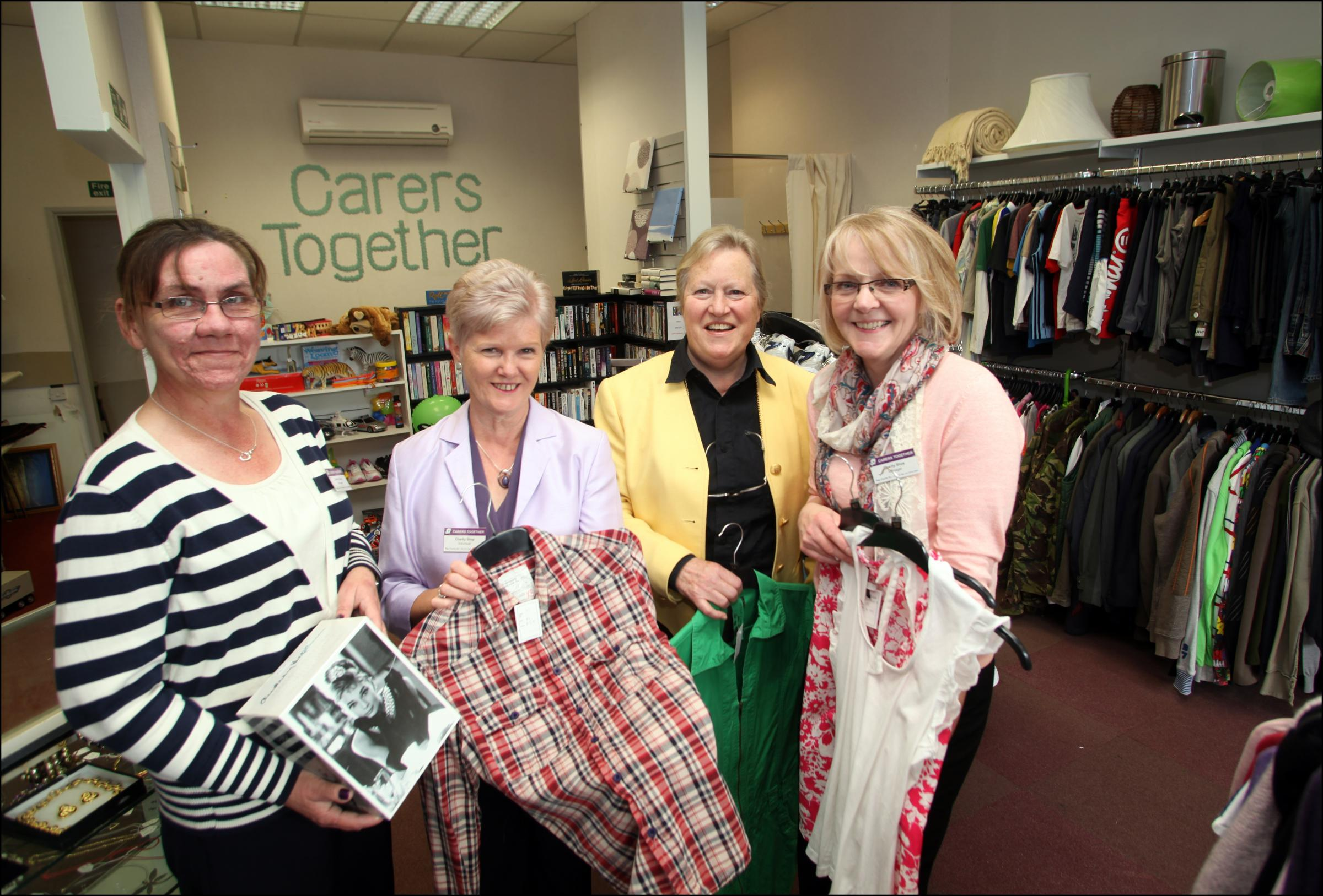 From left: Relief manager Carol Guthrie, volunteer Janet Blann, Patricia Bates and manager Caroline Wilkinson