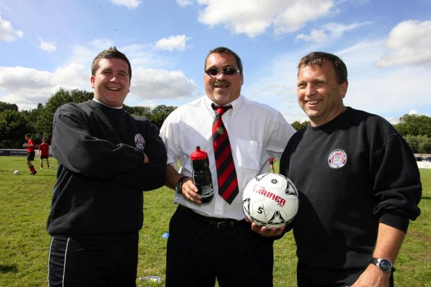 Daily Echo: Danny Robinson, left, and Tim Cole, right, with Andy Leader in their previous stint at Winchester City