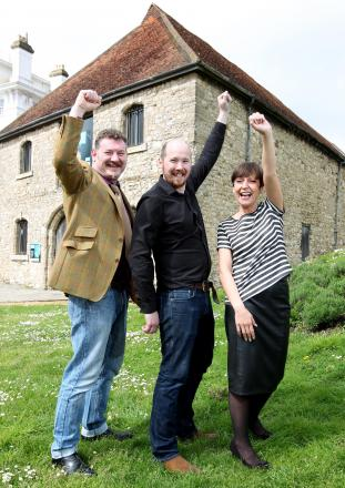 Stewart Cross, Aidan Lavin and Mandy Lacey- Cross celebrate their Dancing Man Brewery being granted permission to become a micro-brewery.