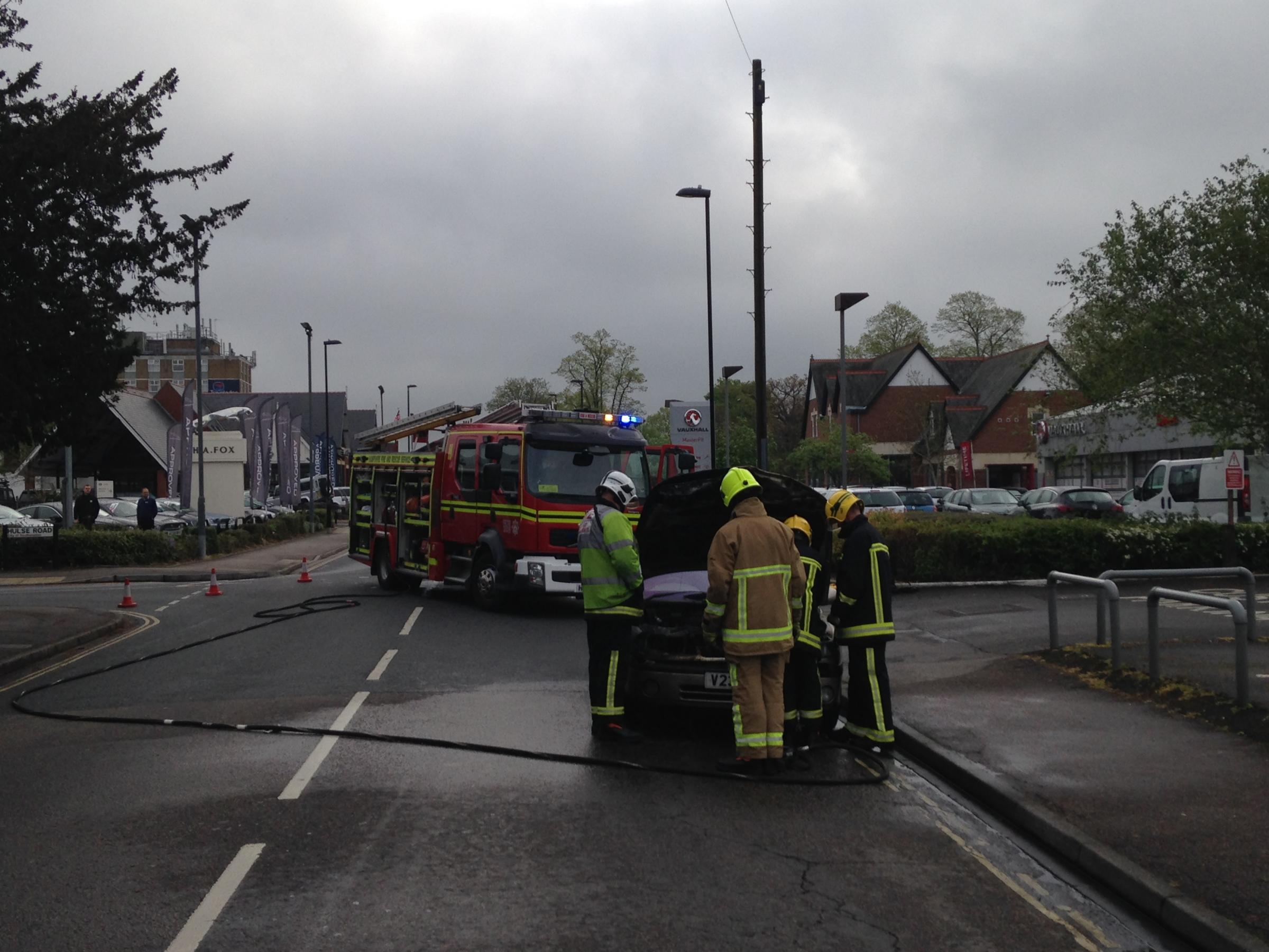 Firefighters at the scene of the car fire in Archers Road, Southampton. Photo by Josh Donaldson
