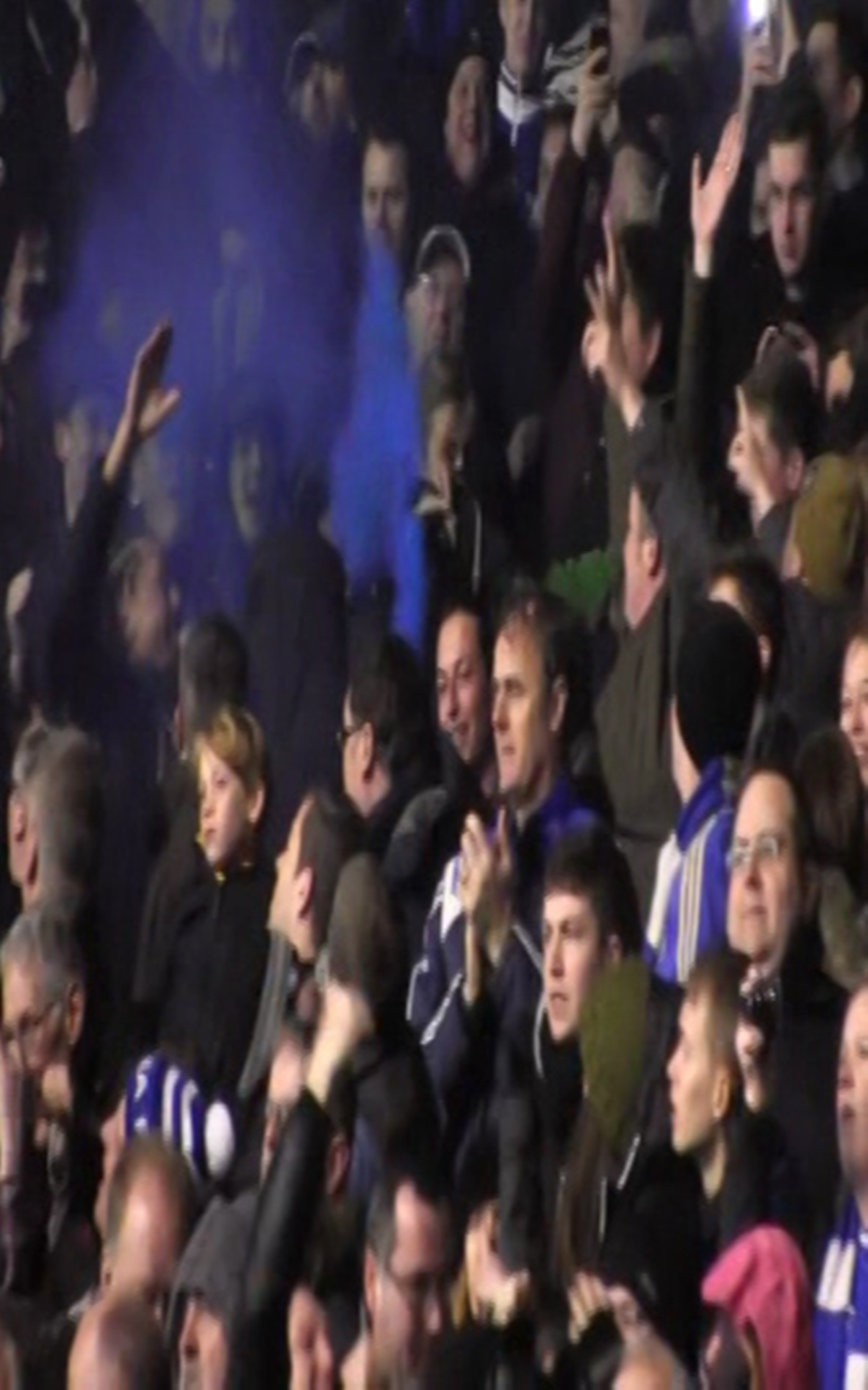 VIDEO: The moment of madness when two football fans celebrated goal at Saints match
