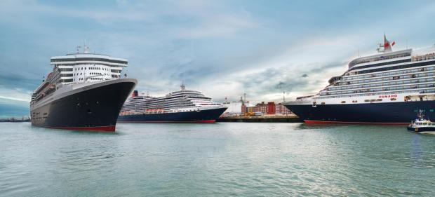 The Three Queens in Lisbon - Queen Elizabeth, Queen Mary II and Queen Victoria. Photo by Cunard
