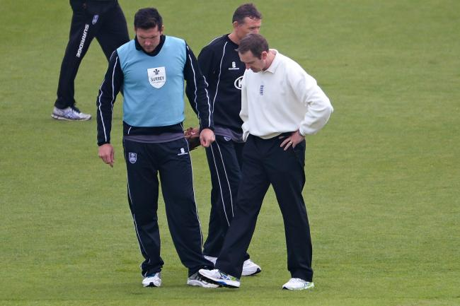 Graeme Smith (left) inspecting a sodden Ageas Bowl outfield earlier this week (Pic: LMI Photography)
