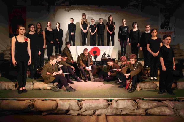 TRIBUTE: Above, the young cast for We Will Remember Them.