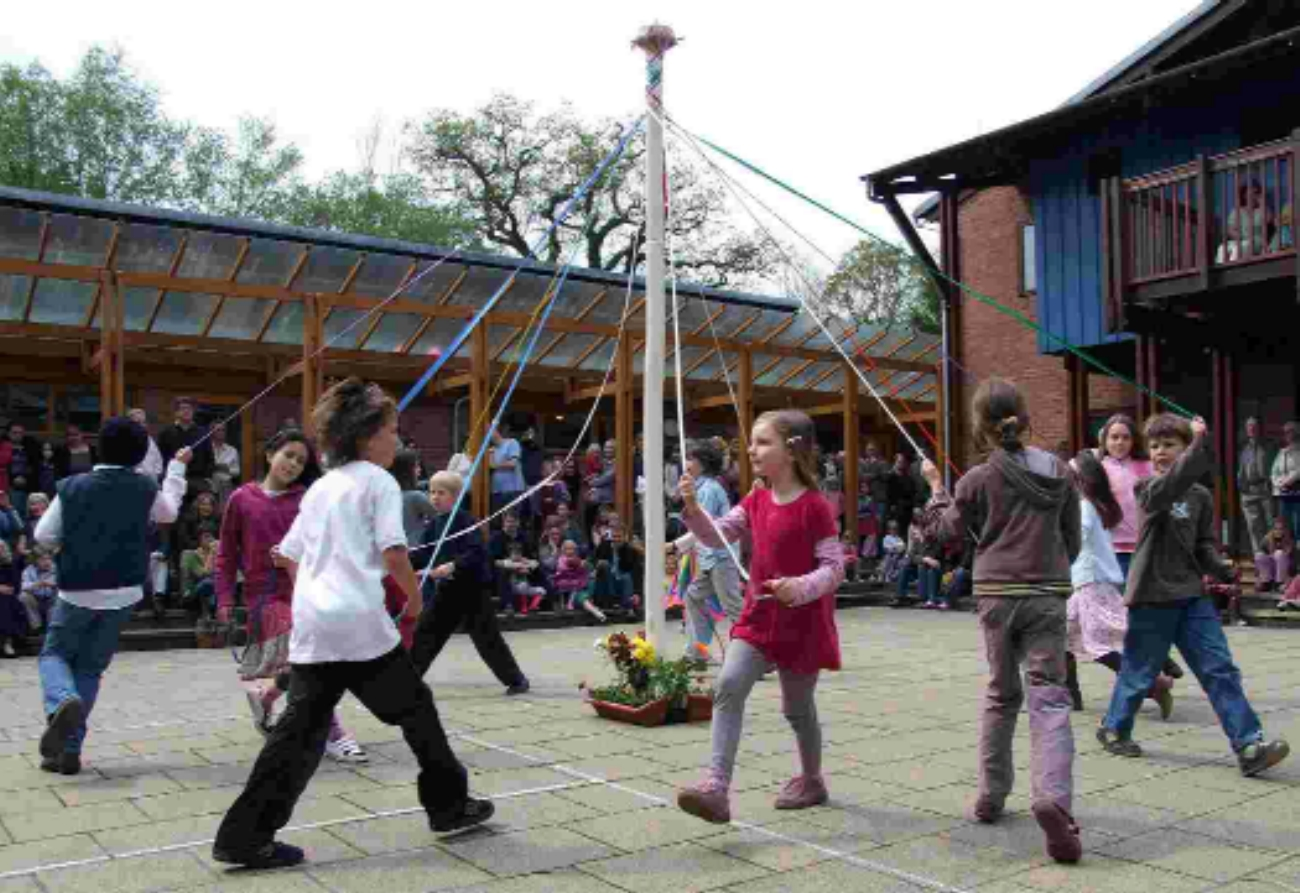 MAY OPEN DAY: Ringwood Waldorf School pupils dance around the Maypole.