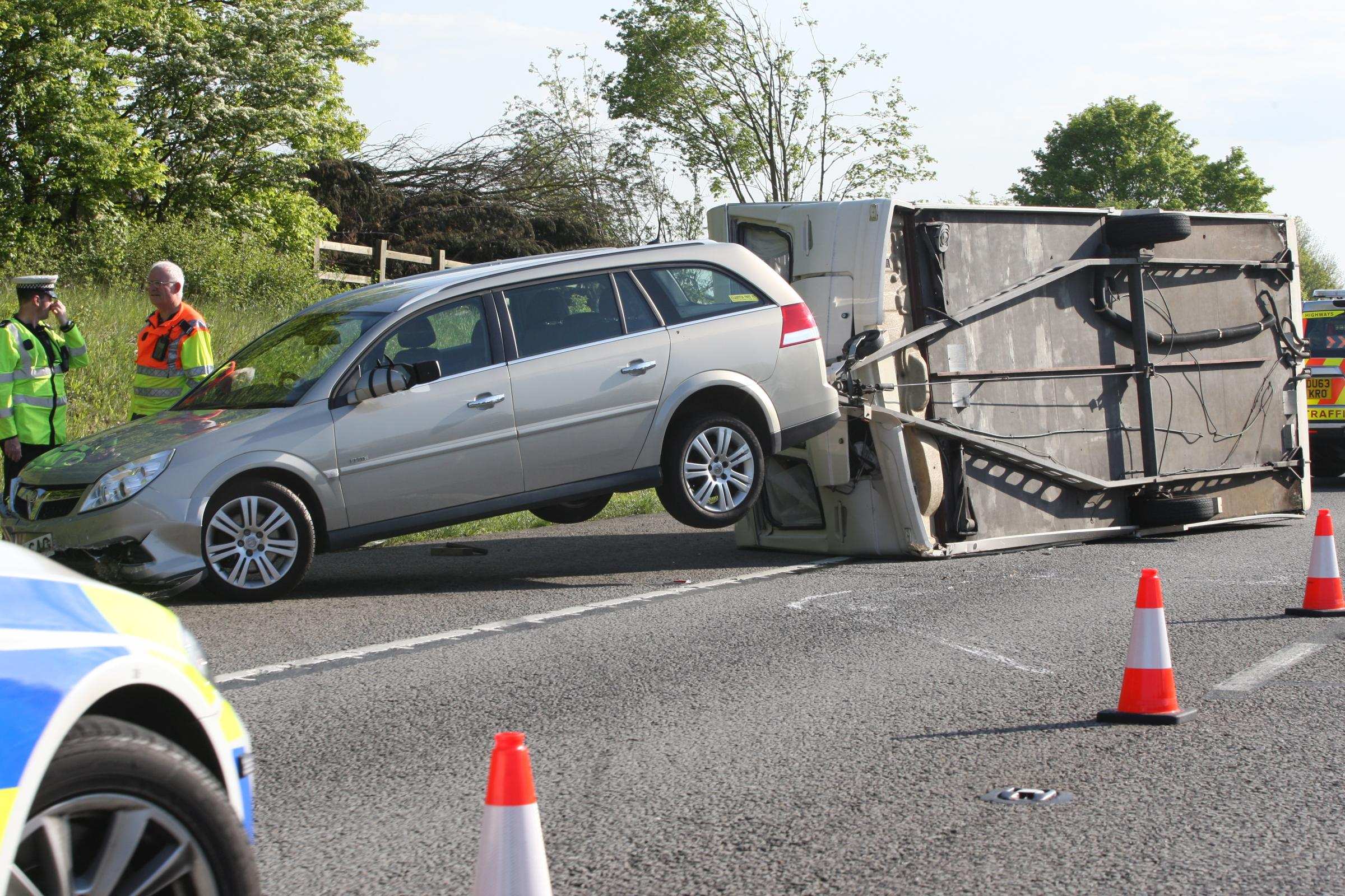 Motorway brought to standstill by overturned caravan