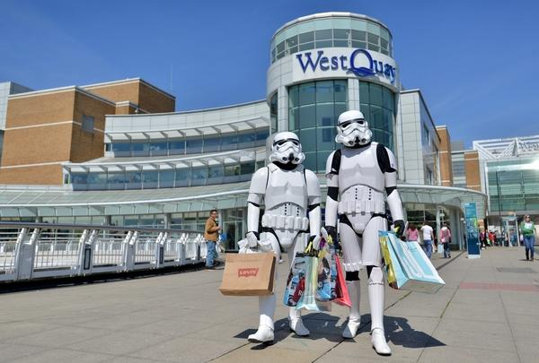 Stormtrooopers invade WestQuay shopping centre in Southampton on Star Wars Day